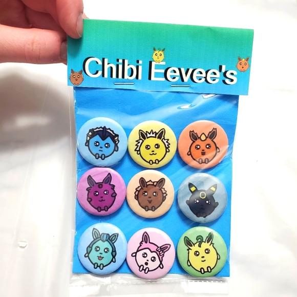 Chibi Eevee Button Pin Badges Set Of 9 Badge Pins